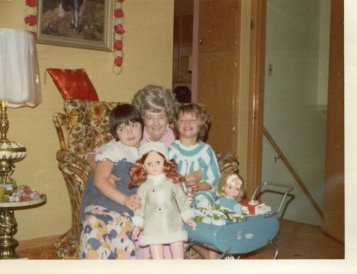 My grandmother, sister and me